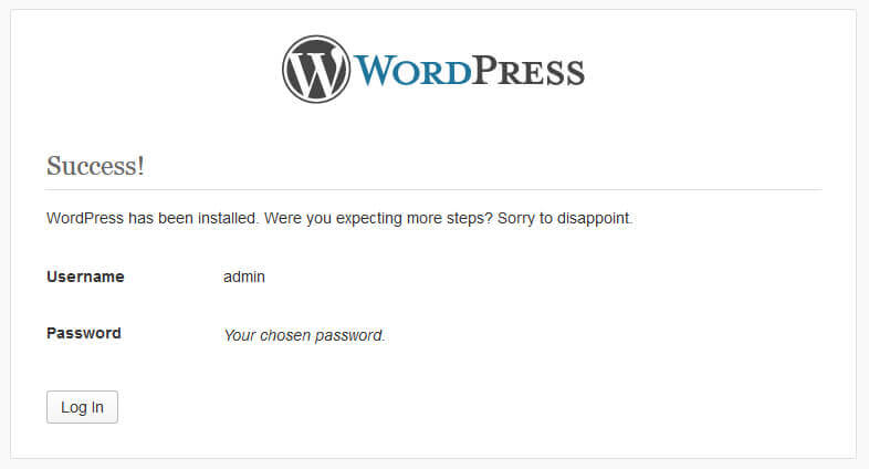 Install WordPress button.